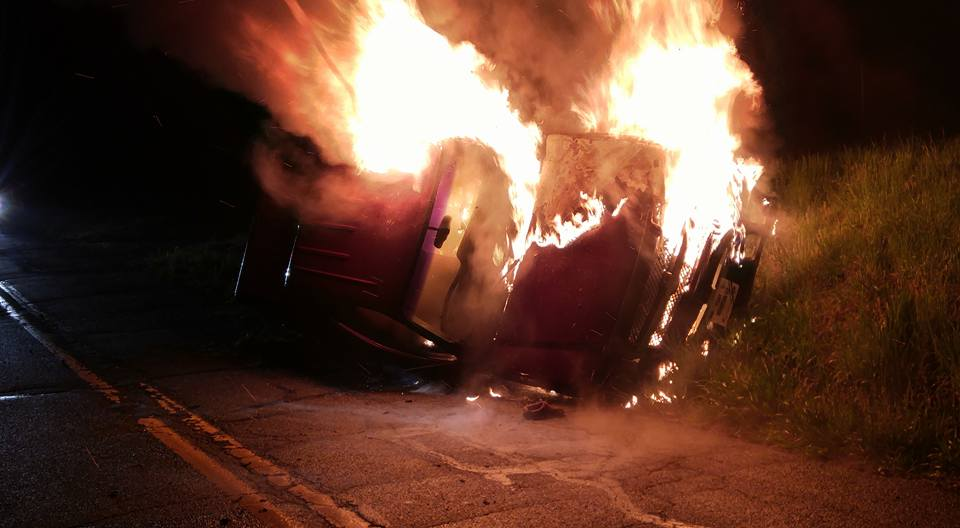 Accident with Fire in Washington Twp