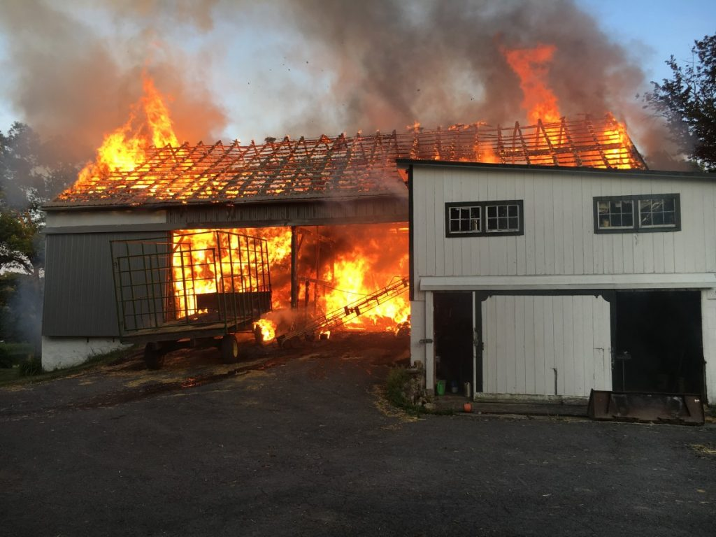 Barn fire in Hereford